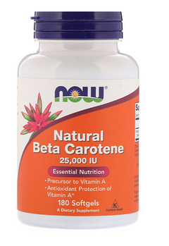 Now Foods, Природный бета-каротин , 25000 МЕ , 180 капсул