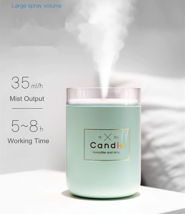 Ультразвуковой увлажнитель воздуха - ночник , 280 мл, в виде свечи