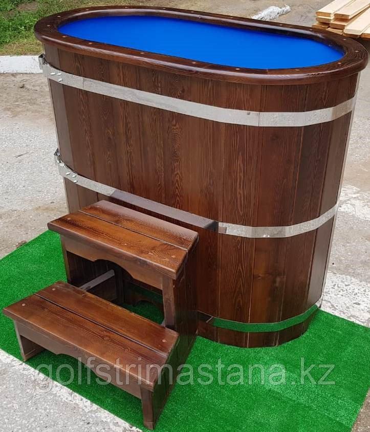 Купель из кедра с пластиковой вставкой / овальная / 78*140*120 см