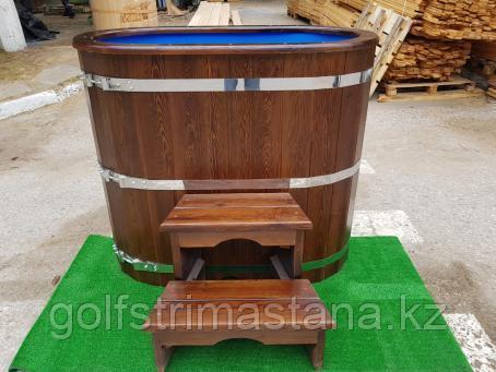 Купель из лиственницы с пластиковой вставкой / овальная / 78*140*120 см