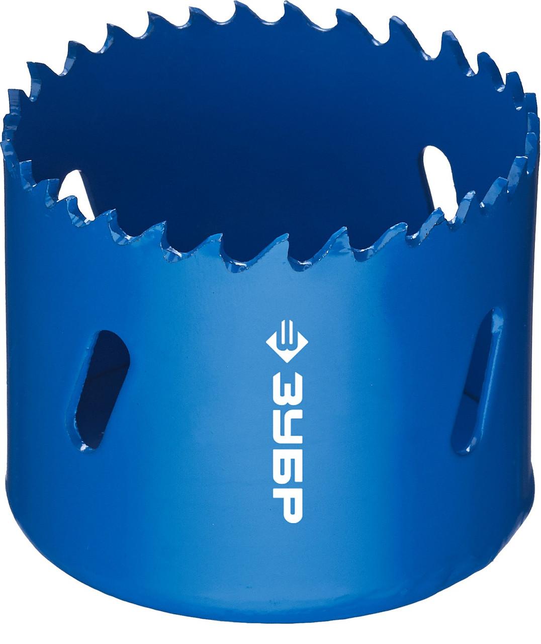 Коронка биметаллическая, быстрорежущая сталь, глубина сверления до 38мм, d-54мм, ЗУБР