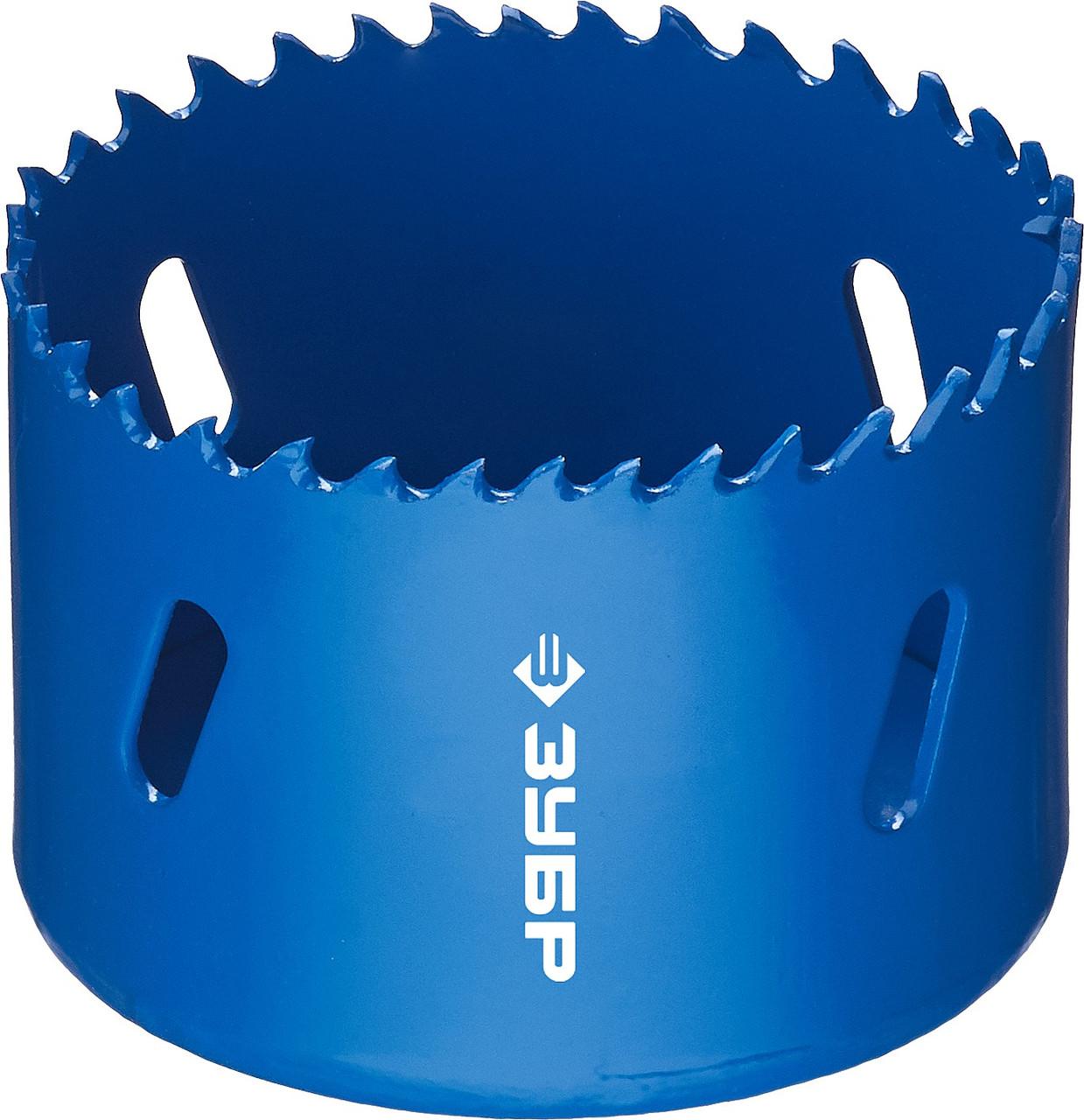 Коронка биметаллическая, быстрорежущая сталь, глубина сверления до 38мм, d-64мм, ЗУБР