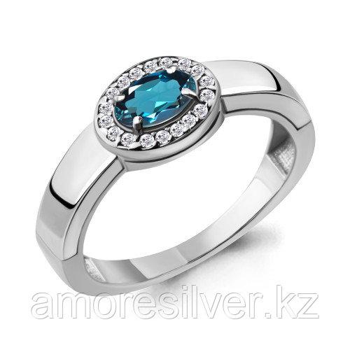Серебряное кольцо с топазом лондон и фианитом  Aquamarine 6911708А.5