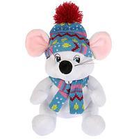 """Мульти-пульти Мягкая игрушка """"Мышка белая, в шапке и шарфике"""", 15см"""