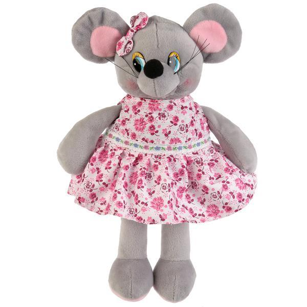 """Мульти-пульти Мягкая игрушка """"Мышка, в платье в цветочек"""", 16см"""