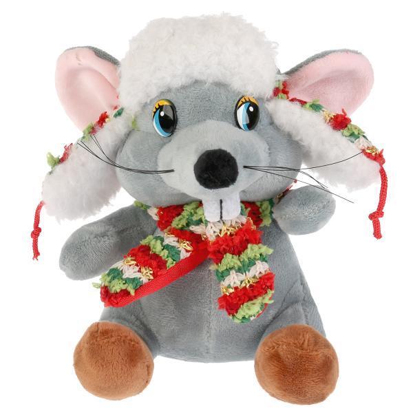 """Мульти-пульти Мягкая игрушка """"Мышка, в шапке ушанке"""", 15см"""