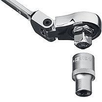 Набор комбинированных гаечных ключей трещоточных шарнирных с  адаптерами, 10 шт, 8 - 19 мм, ЗУБР, фото 2