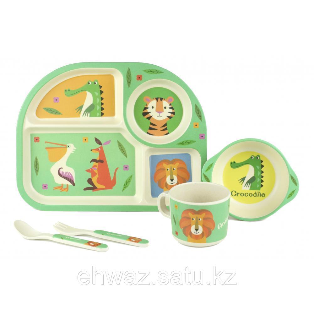 Набор детской бамбуковой посуды Зоопарк