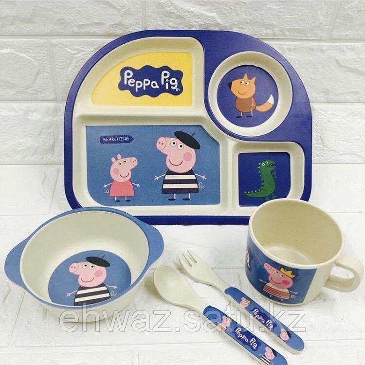 Набор детской бамбуковой посуды Свинка Пеппа синий