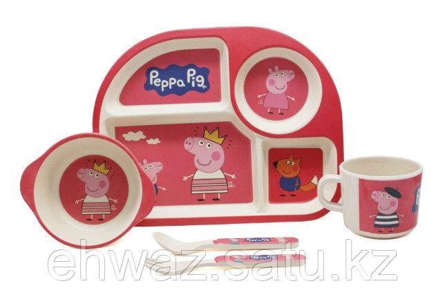 Набор детской бамбуковой посуды Свинка Пеппа розовый