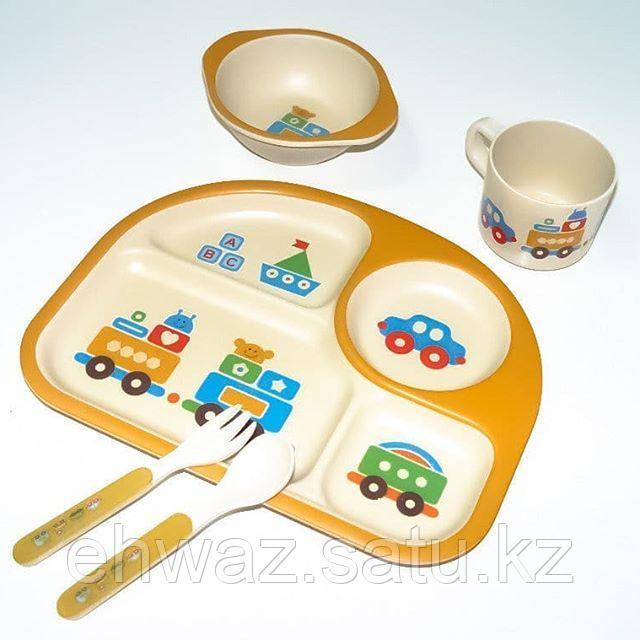 Набор детской бамбуковой посуды Паровозик