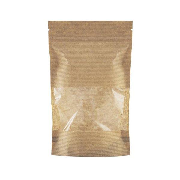 """Пакет бумажный """"Дой-пак""""135х225+(35+35)мм,КРАФТ, с ЗИП замком,окно 70мм, 500 шт"""