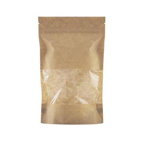 "Пакет бумажный ""Дой-пак""135х225+(35+35)мм,КРАФТ, с ЗИП замком,окно 70мм, 500 шт, фото 2"