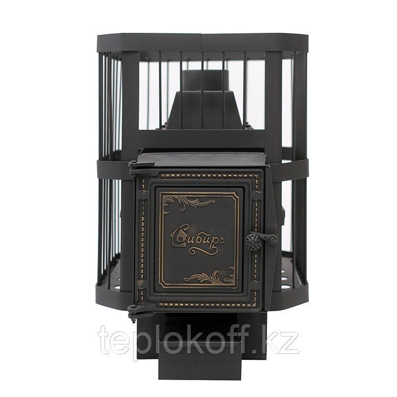"""Печь банная чугунная """"СИБИРЬ-24"""" (СЕТКА) универсальная дверца под стекло"""