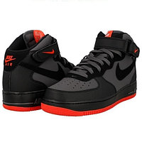 Кроссовки Nike Air Force 1 Mid '07 Grey / Black - Bright Crimson размеры 40-45