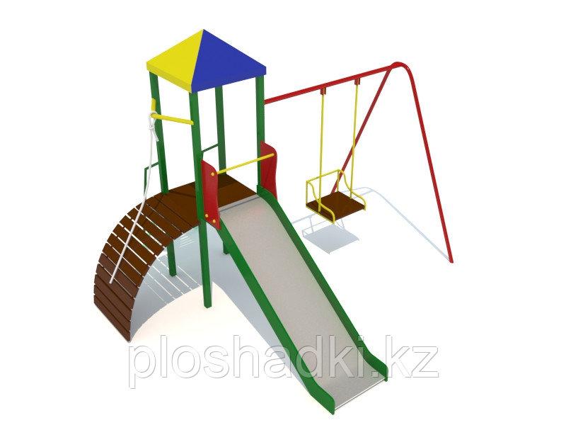 Детский городок, качеля, горка, лестница с канатом, домик с крышей