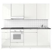 Кухня КНОКСХУЛЬТ глянцевый, белый, 220x61x220 см ИКЕА, IKEA, фото 1
