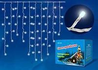 Бахрома светодиодная с контроллером, 3 м. 200 светодиодов. Теплый белый свет. Провод прозрачный. TM Uniel.