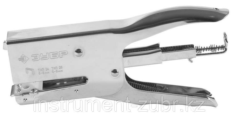 """Степлер усиленный для картона """"T-24"""", тип: плайер, 24 (6-8 мм) 26 (6-8 мм), ЗУБР Профессионал, фото 2"""