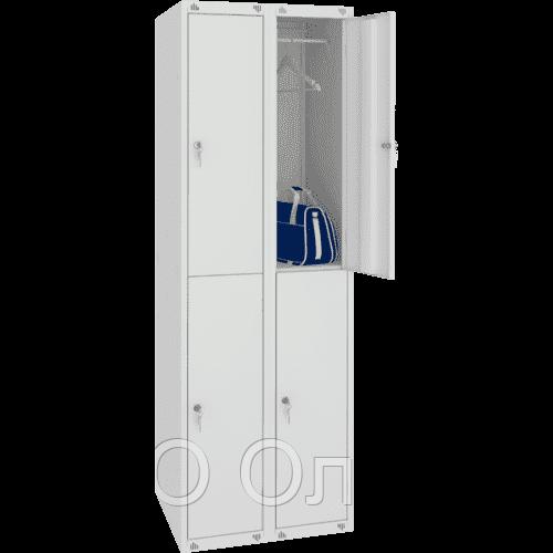 Шкаф для одежды двухсекционный на четыре ячейки (600х490х1850) арт. ШМ24