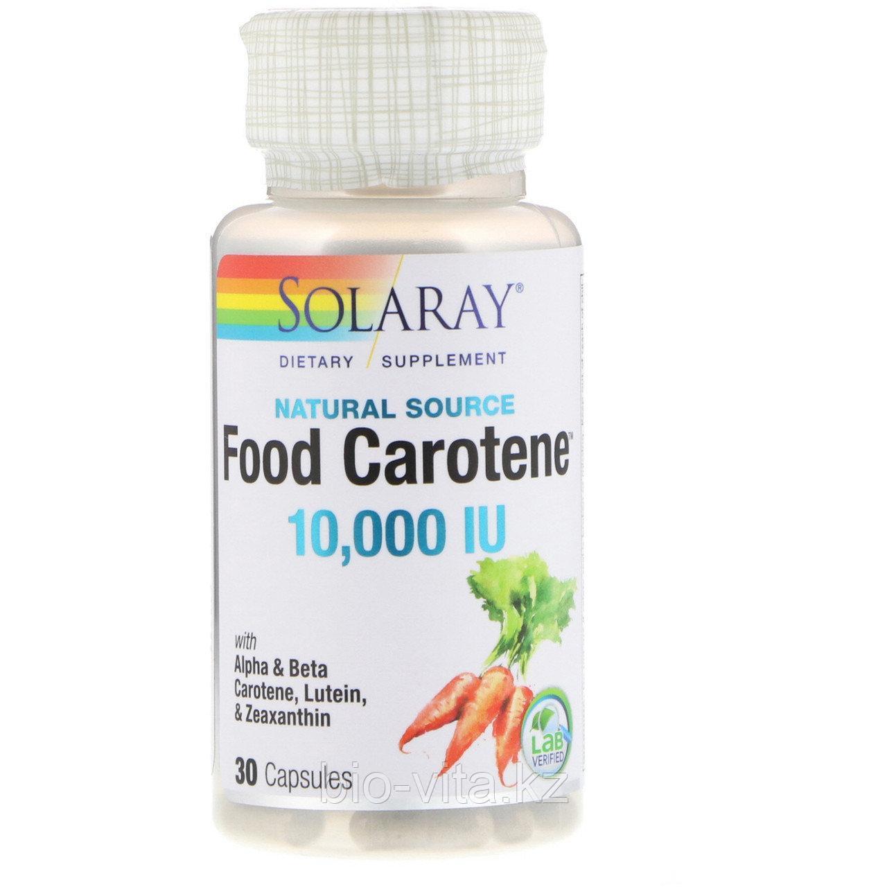 Solaray Натуральный Бета каротин, 10 000 МЕ, 30 капсул.