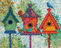 """Набор для вышивания крестом """"Цветные скворечники"""""""
