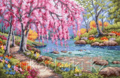 """Набор для вышивания крестом """"Цветение вишни над ручьем"""""""