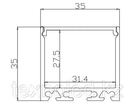 С силиконовым рассеивателем 35*35ММ алюминиевый профиль для светодиодной ленты, фото 2