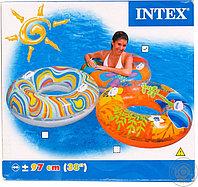 Круг надувной для плавания диаметром 97 см с ручками Intex 58263 Transparent Tubes (от 9 лет). оптом. Алматы