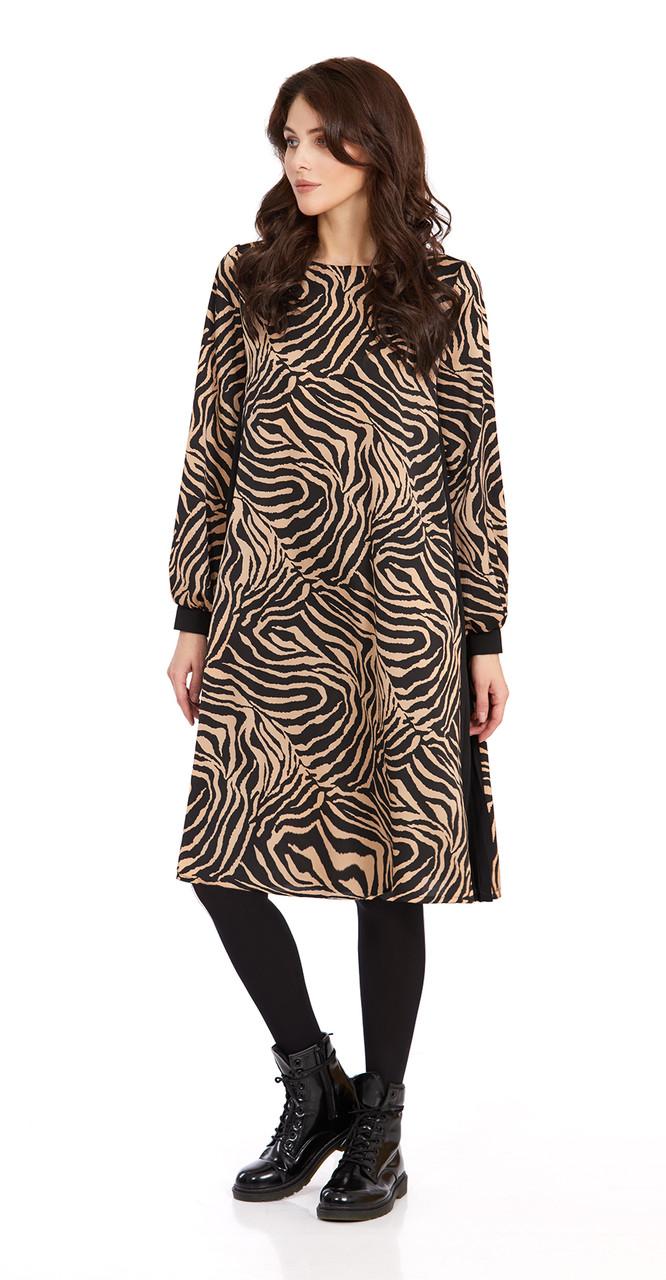 Платье PiRS-838, черно-бежевый узоры, 42