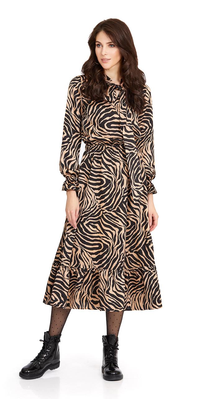 Платье PiRS-855, черно-бежевые узоры, 42