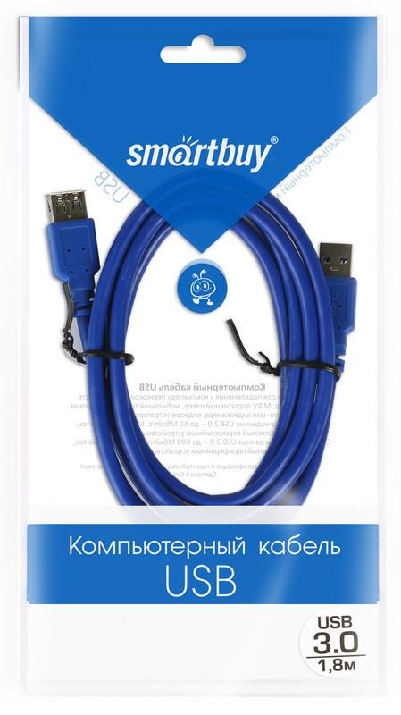 Кабель-удлинитель Smartbuy USB 3.0 Am-->Af 1,8 m в пакете