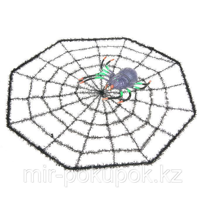 """Паутина"" с пауком (декорации на Хэллоуин), 30 см"