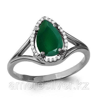 Серебряное кольцо с агатом зелёным и фианитом   Aquamarine 6539109А.5