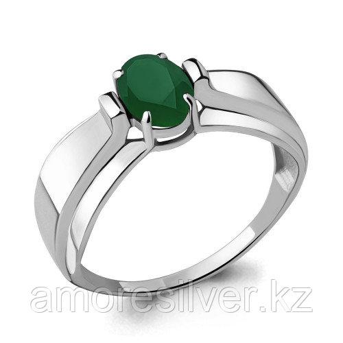 Серебряное кольцо с агатом зелёным  Aquamarine 6593209,5