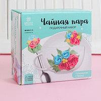 """Чайная пара с ложечкой, набор для декора полимерной глиной """"Цветы"""""""