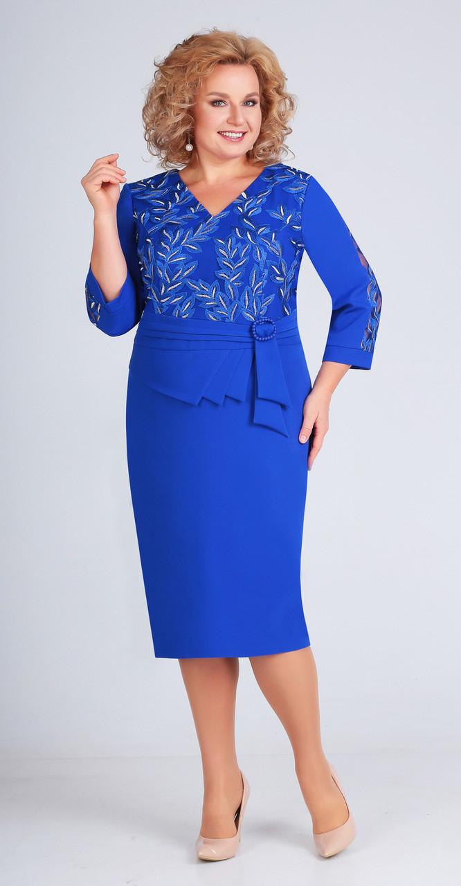 Платье Асолия-2436, василек, 54