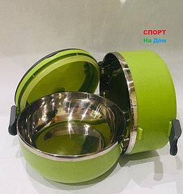 Ланч бокс двойной для еды термос 1000 мл (цвет зеленый)