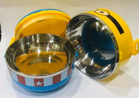 Ланч бокс двойной для еды термос 1000 мл (цвет синий, миньоны), фото 2