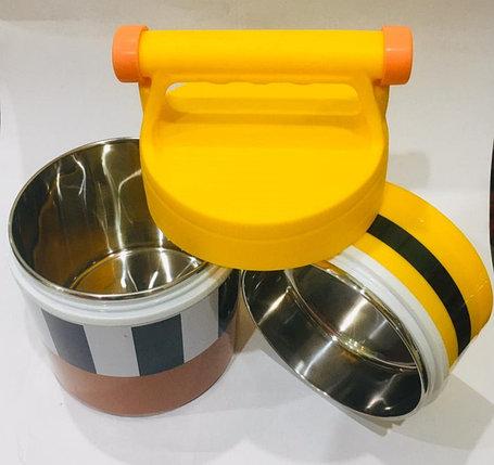 Ланч бокс двойной для еды с ручкой термос 1500 мл (цвет коричневый, миньоны), фото 2