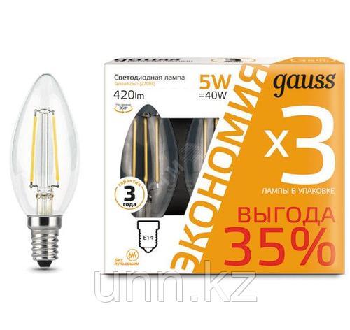 Лампа Gauss Filament Свеча E14 5W 420lm 2700K 1..., фото 2