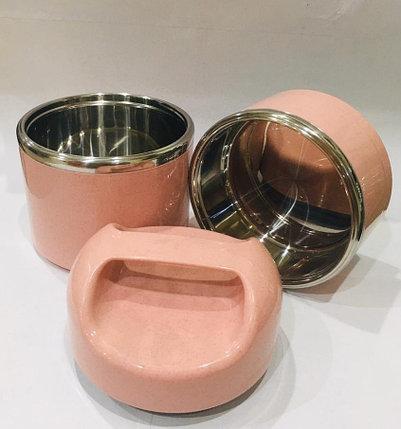 Ланч бокс двойной для еды с ручкой термос 1500 мл (цвет розовый), фото 2