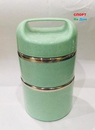 Ланч бокс двойной для еды с ручкой термос 1500 мл (цвет зеленый), фото 2