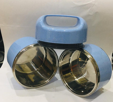 Ланч бокс двойной для еды с ручкой термос 1500 мл (цвет синий), фото 2