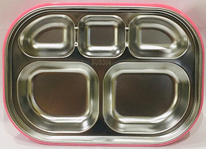 Ланч бокс контейнер для еды детский (цвет розовый), фото 2