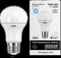 Лампа Gauss Elementary LED A60 15W E27 6500K 1/10/50