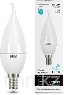 Лампа Gauss LED Elementary Candle tailed 8W E14 4100K 1/10/50