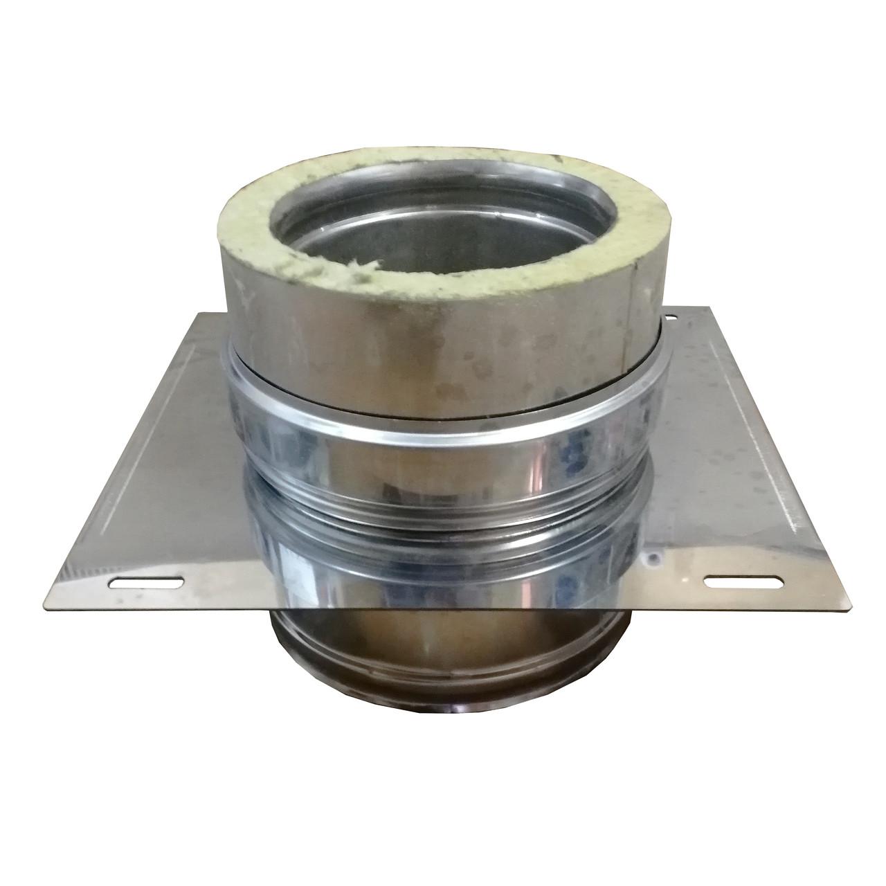 Крепление опорное Термо(430, t0.5/430,t0.5)(пластина 430-1,5) d120/D200,А300*В300,L400(Раструб)
