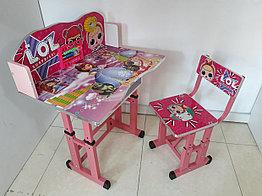 Детская парта со стулом регулируемая по высоте. LOL + Принцесса София. Отличный подарок.