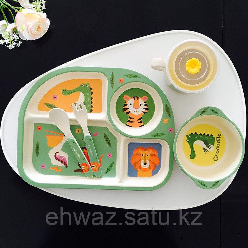 Детская бамбуковая  посуда  Зоопарк